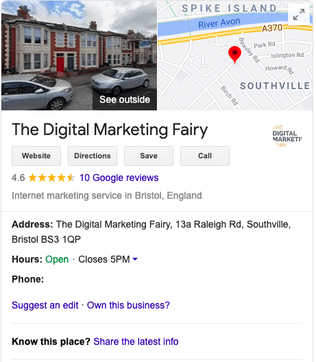 Google My Business screenshot on Chrome